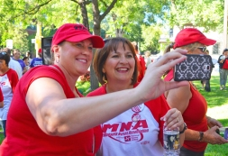 MNA is encouraging supporters to take selfies with nurses and post them on social media using the hashtag #MN4RNs. Pictured are nurses Nancy Jahnke of Mercy Hospital and Kimberly Blomberg (R) of Abbott Northwestern.