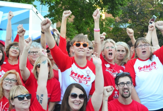 Allina nurses rallied with RNs from other Twin Cities hospitals and supporters across the labor community Thursday in Minneapolis.