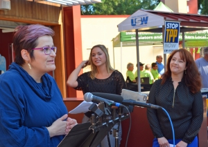 """Co-authors of """"The State of the Unions 2016,"""" Monica Bielski Boris (L) and Jill Manzo, appear at a State Fair press conference with MN AFL-CIO Secretary-Treasurer Julie Blaha (R)."""