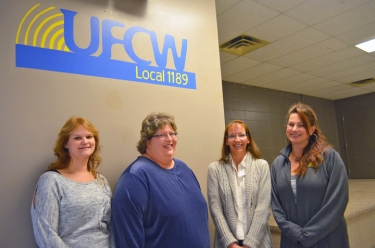 Members of the Prescott nursing home bargaining team: (L to R) Kim Nelson, Karen Peterson, Gayla Morrison and Jody Pederson.