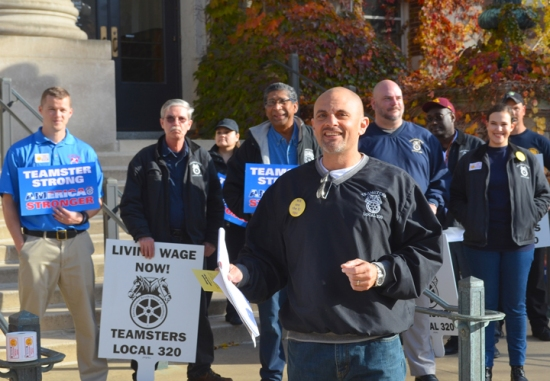 Brian Aldes, Local 320's principal officer, leads a rally at the University of Minnesota-Twin Cities.