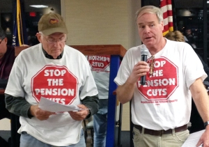 Jeff Brooks (R) and Bob McNattin, both retired members of Teamsters Local 120, have been raising awareness among area unions and labor federations about a looming attack on defined-benefit pensions.