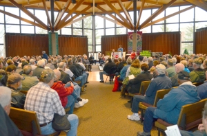 Retirees packed the chapel at Macalester College to learn more about potential legislation weakening defined-benefit pensions.