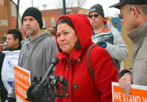 Rosa Baires, pictured speaking at a press conference outside FSB in December, used to work at the bakery, but after taking time off to be with her dying ex-husband, the company told her she no longer had a job – an example, she said, of why workers there need a union.