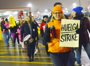 Home Depot janitors staged a strike on Trump's first day in office.