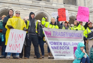 Union tradeswomen stood together at the Women's March, saying they will push for increased hiring goals to bring women into the industry both locally and nationally.