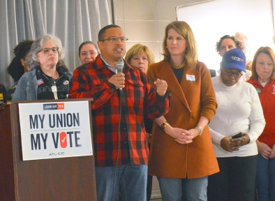 Keith Ellison, the labor-endorsed candidate for attorney general in Minnesota, gets backing from AFL-CIO Secretary Treasurer Liz Shuler.