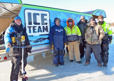 Volunteers (L to R) include Mike Rodger, Clam Outdoors and Cement Masons Local 633; Dave Youngblom, IUEC Local 9; Jarrod Asleson, Local 633; Jon Edwards, Trained Monkey Truckin'; Adam Morin and Joe Nelson.