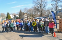 Volunteers at one of several free food giveaways hosted by Teamsters Local 120 in St. Paul Park, where Marathon refinery has locked out nearly 200 Local 120 members.